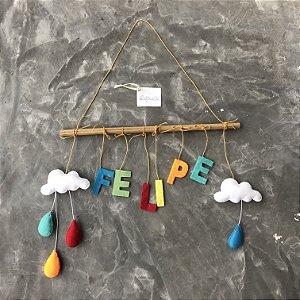 Porta Maternidade Varal Divertido com Nuvens e Gotas coloridas