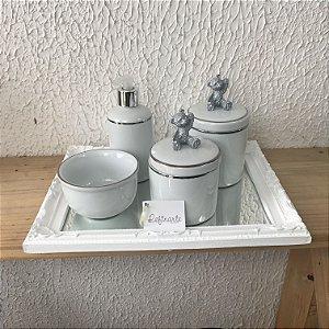 Kit Higiene Completo Filete Prata com Ursinho 3D