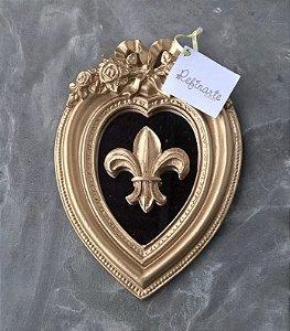 Quadro Decorativo espelhado Coração com Laço e Flor de Lis