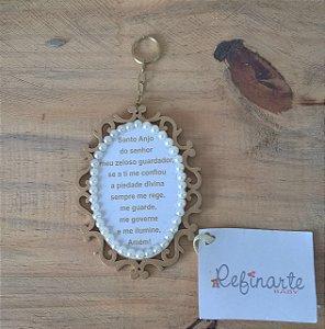 Chaveiro Maternidade Personalizado Oração do Santo Anjo com perolas