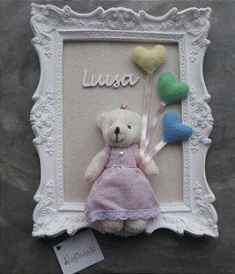 Quadro Porta Maternidade Ursinha com corações