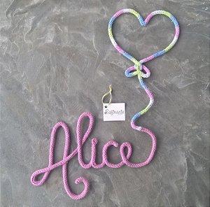 Nome com Balão de Coração em Crochê