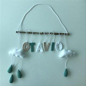 Porta Maternidade Varal Divertido com Nuvens e Gotas bege, verde e branco