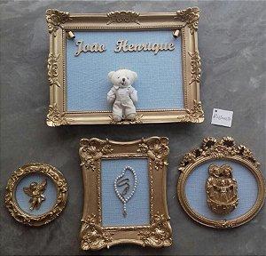 Coleção de quadro porta maternidade e composição Completa Blue Sky Bear