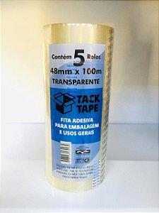 5 Rolos de Fita adesiva Transparente 48mm x 100metros TACKTAPE