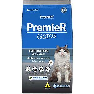 Premier Gatos Adultos - Castrados - Até 7 Anos Frango 7,5K