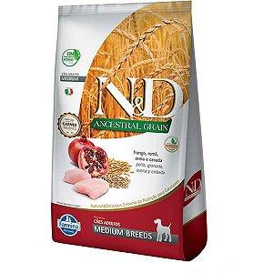 N&D Ancestral Grain Adultos - Medium Frango/Romã 2,5kg