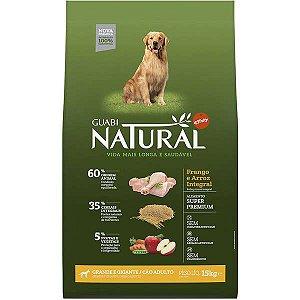 Guabi Natural Frango E Arroz Integral Para Cães Adultos - Raças Grande E Gigante 15kg