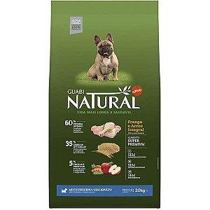Guabi Natural Cães Adultos - Porte Mini E Pequeno - Frango E Arroz Integral 20kg