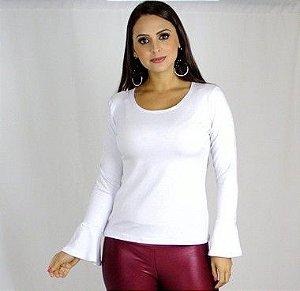 Blusa flare com manga longa