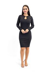 Vestido gota preto manga longa