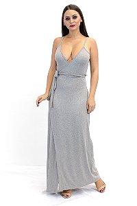 Vestido transpassado longo cinza