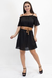 Vestido bata com alça preto