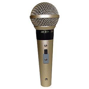 Microfone Leson Sm58 P4 Champagne + Cachimbo + Cabo + Bag