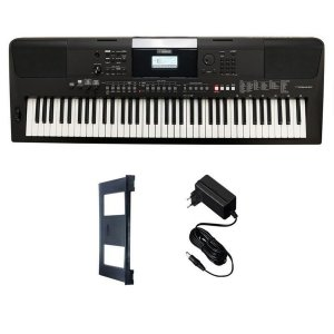 Teclado Yamaha PSR-E463 + Fonte + Porta Partituras