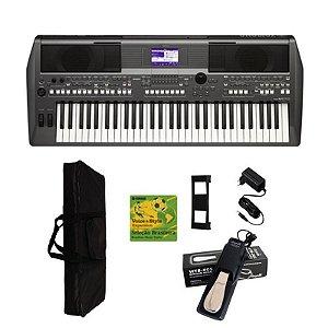 Teclado Yamaha PSR-S670 + Fonte + capa + pedal
