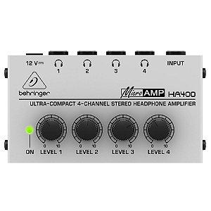 Amplificador para Fones de Ouvido Behringer HA400 MicroAmp / 4 Canais / Ultra Compacto