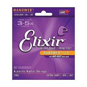 Encordoamento Elixir Nanoweb 010-047 Extra Light para Violão