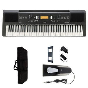 Teclado Yamaha PSR-EW300 6/8 + Fonte + Capa + pedal fc4 a