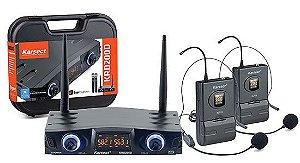 Microfone s/ Fio Karsect KRD-200DH Auricular Duplo