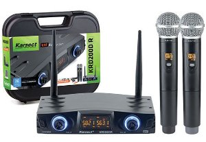 Microfone s/ Fio Karsect KRD-200DR Mao Duplo Bateria Recarregavel