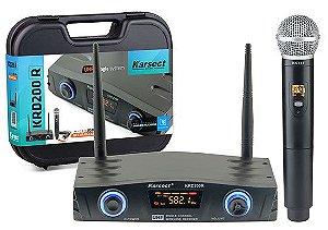 Microfone s/ Fio Karsect KRD-200R Mao Simples Bateria Recarregavel