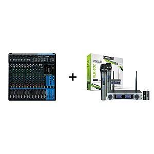 Kit Mesa MG16XU + Microfone S/Fio Vokal VLR 502 Duplo Mão