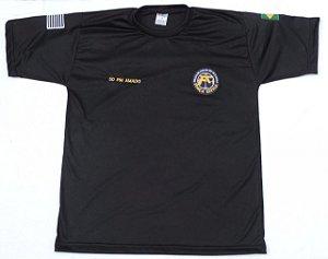 Camiseta Preta Malha PV Gola V ou Careca PMESP