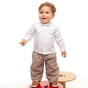 Conjunto social bebê calça linho orgânico camisa branca - Bumabei