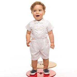Conjunto social bebê com gravata e suspensórios branco - Bumabei