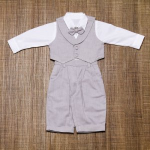 Conjunto social bebê oxford cinza camisa branca - Bumabei