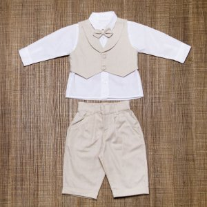 Conjunto social bebê oxford bege camisa branca - Bumabei