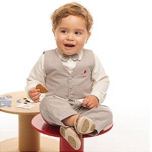 Conjunto social bebê caqui listras cinza camisa bege - Bumabei