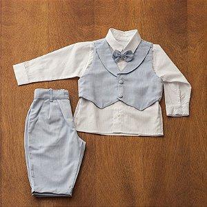 Conjunto social bebê oxford azul camisa branca - Bumabei