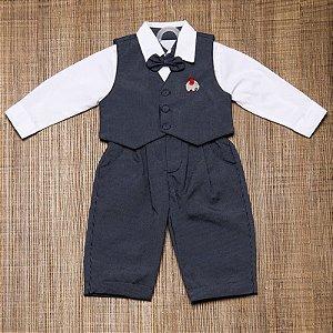 Conjunto social bebê 4 peças azul marinho risca de giz - Bumabei