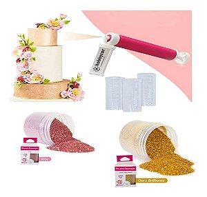 Kit 2 Glitter Corante Comestível Pulverizador Para Confeitaria