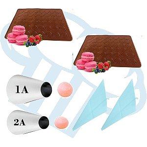 Kit 2 Tapetes em silicone com 48 cavidades para confecção de macarons, woops e bem casados