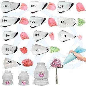 Kit 17 Peças Para Confeitaria Rosas E Flores Bicos Wilton