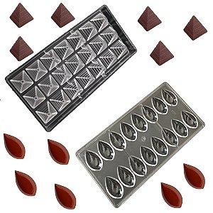 Kit 2 Forma Molde Confeitaria Chocolate Piramide Bombom Gota