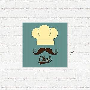 """Placa Decorativa """"Chef Mustache"""""""