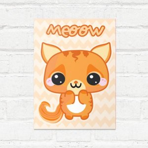Placa Decorativa Gatinho Kawaii