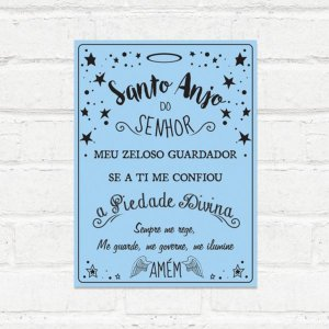 Placa Decorativa Santo Anjo Azul