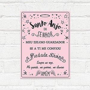 Placa Decorativa Santo Anjo Rosa