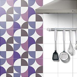 Adesivo Azulejo Geometric Purple - kit 18pçs