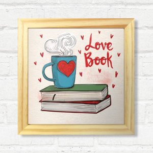 Quadro Love Book com Moldura Madeira