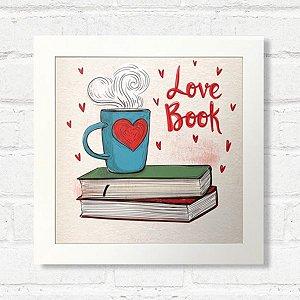 Quadro Love Book com Moldura Branca