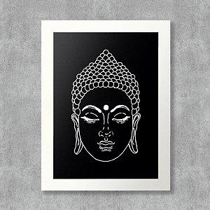 Quadro Buda com Moldura Branca