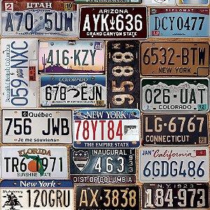 Papel de Parede Adesivo Old Car Plates