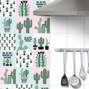 Adesivo Azulejo Cactus