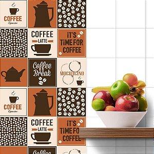 Adesivo Azulejo Coffee - kit 18pçs